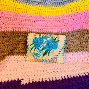 Summer Blue Flower Raffia Woven Mini Beach Wallet